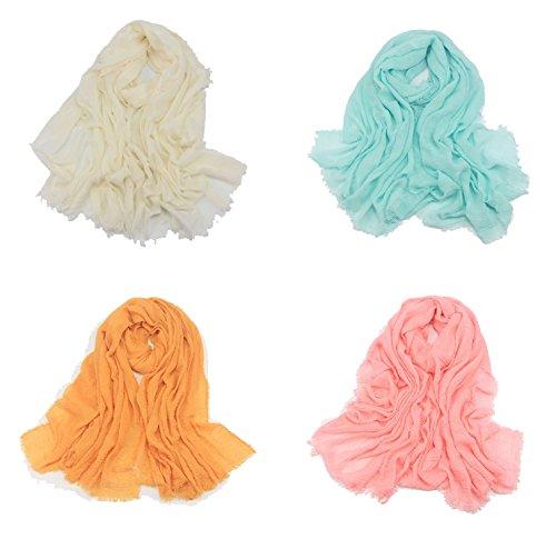 Gellwhu 4PCS Women Large Soft Scarf Shawls Solid Bikini Beach Cover Up Wraps (Pack D) by Gellwhu