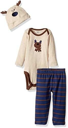 Gerber Baby Boys' 3 Piece Bodysuit, Cap and Pant Set