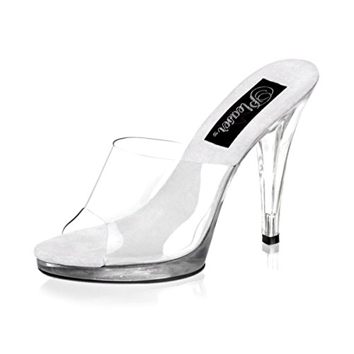 4 1/2 Inch Cute Bridal Shoe Womens Sexy High Heel Shoes Slip On Slide Clear Size: (Cute Clear Shoe High Heel)