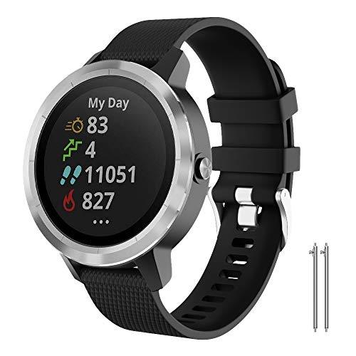 NotoCity for Garmin Vivoactive 3 Band, 20mm Quick Release Soft Silicone Replacement Band for Garmin Vivoactive 3 / Garmin Forerunner 645 /Samsung Gear Sport/Galaxy Watch 42mm(Black, S)