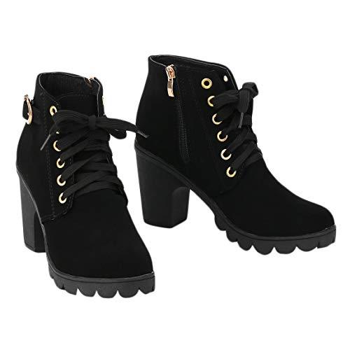 Altura Tacón Pantorrilla Tobillo Zapatos de Femenina Moda Gamuza de Encaje Cremallera la Fiesta de Media Invierno Bombas de Chica Alto hasta Lateral la Botines Mujer 4Pf1PqFE