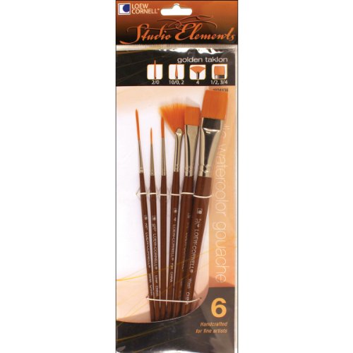 Loew-Cornell 1024936 Studio Elements Golden Taklon Short Handle Detail Brush Set (Golden Taklon Detail Brushes compare prices)
