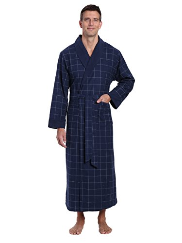 - Noble Mount Men's Flannel Fleece Lined Robe - Windowpane Checks - Navy - Large/X-Large
