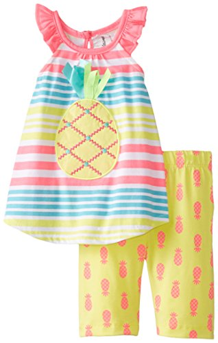 Rare Editions Baby Baby Girls' Pineapple Striped Short Set, Multi Color, 18 Months