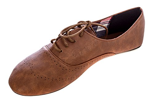 Flats Lace Lace Up (Delias Women's Lace-Up Wingtip Oxford Ballet Flat Shoe in Chestnut Size: 10)