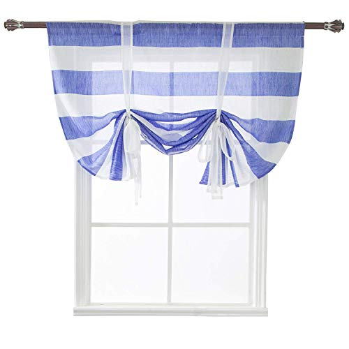 WUBODTI Striped Tie Up Curtain Panel Blue and White Rugby Stripe Window Curtain Drapes Sheer Tie Up Shades Balloon Small Curtain for Kitchen Bedroom Living Room Nursery Room,46x63 Inch