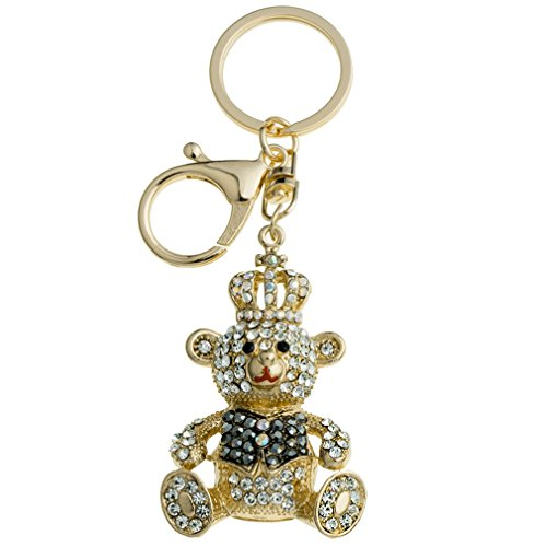YAZILIND Keychains Lovely Crown Bear Shape Inlaid Rhinestone Bag Keyrings (Black)