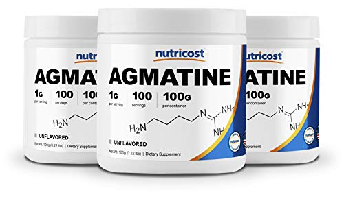 Nutricost Agmatine 100 Grams 3 Pack – Pure Agmatine 100 Servings Agmatine Sulfate
