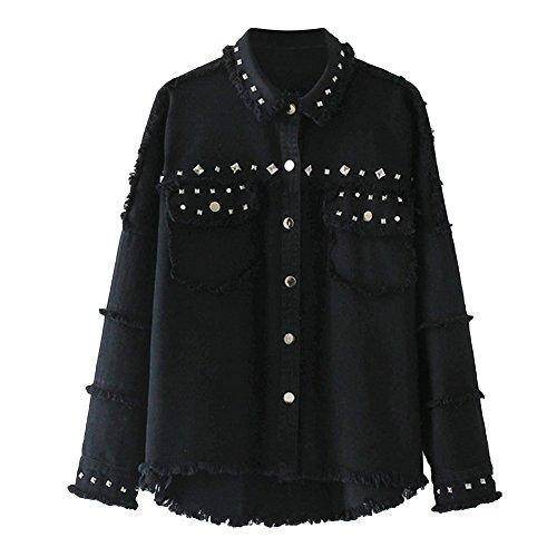 VERYCO Women Denim Jackets Vintage Boyfriend Distressed Rivets Long Sleeve Jean Outwear Tops Black