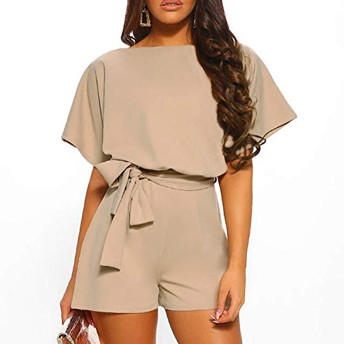 Devon Aoki Women Playsuit Short Romper Jumpsuit for Lady Summer Beach Rompers Playsuits Short Sleeves Overalls Khaki