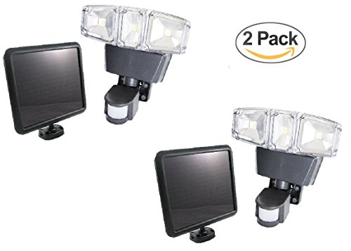 2 Pack Triple Heads 180 Degree Ultra Bright Outdoor Solar Motion Sensor Light, 1200 lumens with Advanced COB LED Technology, 3 Intelligent Modes Adjustable, Solar Panel with 15FT Extend Cable by FORCETEKDATA