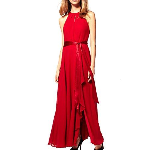 Women Halter Neck Sleeveless Chiffon Maxi Evening Party Dresses (Large, Blue)