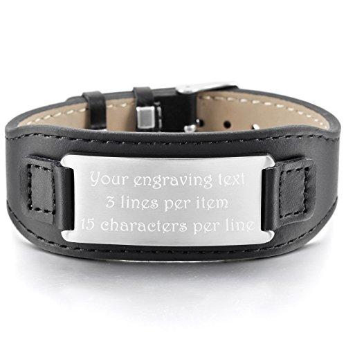 MeMeDIY Stainless Steel Genuine Leather Bracelet Bangle Cuff Adjustable - Customized Engraving