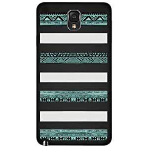 Black, White and Teal Aztec Tribal Pattern Hard Snap on Phone Case (Note 3 III)