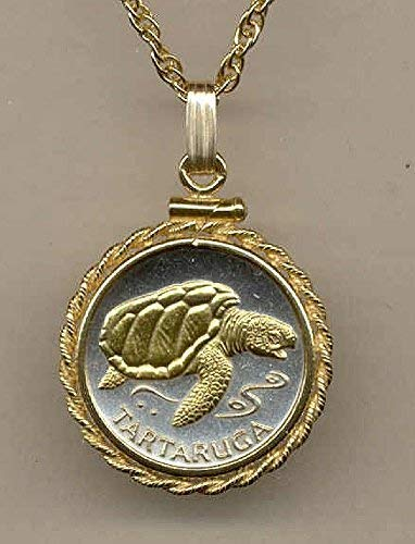 """- Cape Verde """"Sea Turtle"""",Gorgeously 2-Toned (Uniquely Hand done) Gold on Silver coin Necklaces for women men girls girlfriend boys teen girls"""