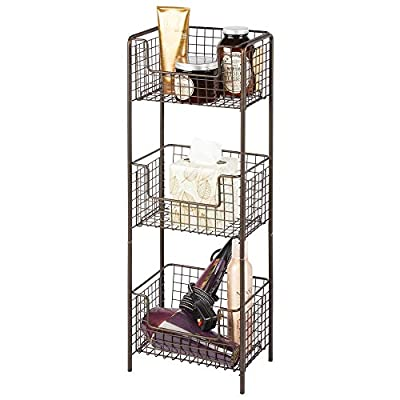 mDesign 3 Tier Vertical Standing Bathroom Shelving Unit, Decorative Metal Storage Organizer Tower Rack with 3 Basket Bins to Hold and Organize Bath Towels, Hand Soap, Toiletries - Bronze - STANDING STORAGE: Keep bathrooms neat and tidy with this storage shelf; This durable organizer has three easy-reach open front baskets stacked in a compact vertical format to provide plenty of storage space in master bathrooms, guest or half-baths, and powder rooms; The slim design is perfect for small spaces, it will fit nicely next to pedestal and bathroom vanity cabinets; Ideal for storing washcloths, rolled hand towels, facial tissues, extra rolls of toilet paper and bar soap 3 BASKETS: This tower features three generously sized storage bins; A perfect addition to any corner of a bathroom or inside a closet for more discreet storage; Perfect for holding shampoo, conditioner, body wash, hand lotion, sprays, facial scrubs, moisturizers, oils, serums, wipes, sheet masks and bath bombs; Create a space to keep all of your hair styling tools organized, these baskets hold hair spray, waxes, pastes, spritzers, hair brushes, combs, blow dryers, flat irons and curling irons FUNCTIONAL & VERSATILE: The vintage/farmhouse styling of this wire organizer will add style to your storage and complement your decor; This unit provides a convenient storage option in any room of the home; The open grid design allows for air circulation when storing fresh fruits and vegetables in your kitchen or pantry; Perfect in the laundry or utility room for holding detergents and cleaning supplies; This convenient shelving unit is also great for garages, offices and toy or playrooms - shelves-cabinets, bathroom-fixtures-hardware, bathroom - 41tmWpF25bL. SS400  -