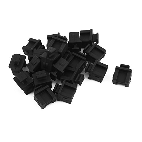 uxcell 20Pcs SFP-B Black Silicone Anti-dust Stopper/Plug for Protect Data Port of Devices