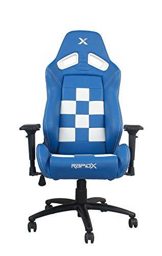41tmX0oLr3L - Finish-Line-White-on-Blue-Checkered-Flag-Pattern-Gaming-and-Lifestyle-Chair-by-RapidX