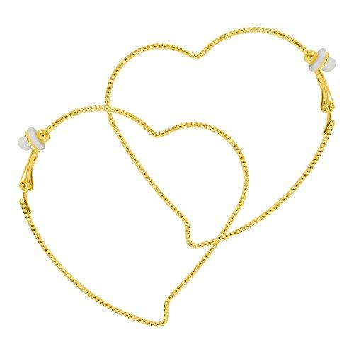 Fashion Large Heart Golden Hoop Clip On Earrings For Women 2.36 inch RareLove