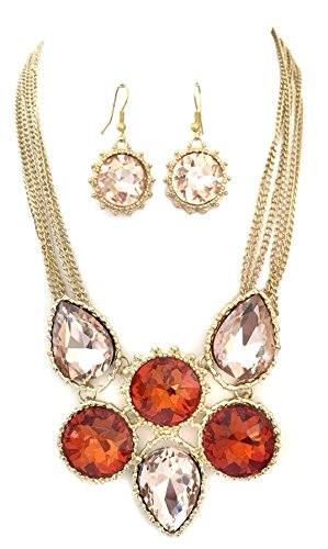 Gypsy Jewels Orange Peach Rhinestone Bling Statement Big Boutique Gold Tone Necklace Earrings Set