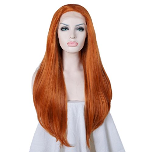 80cm Lace Front Wig 32 Inches Orange Wavy Long Lace Heat Resistant Hair]()