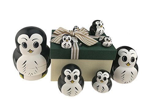 Penguin Nesting Dolls - Set of 10 Big Belly Animal Penguin Wooden Handmade Nesting Dolls Matryoshka Russian Doll in a Exquisite Gift Box With Bow For Kids Toy Birthday Christmas New Year Gift Home Decoration