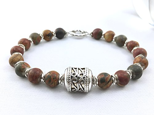 Men's Mookaite Bead Bracelet with Sterling Silver Bali Bead