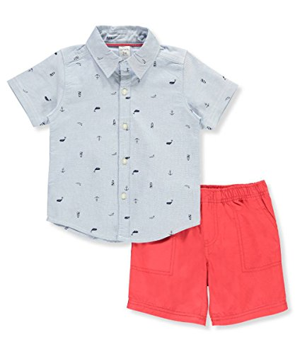 (Carter's Baby Boys' 2 Piece Schiffli Button-Front and Poplin Shorts Set 24 Months)