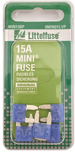 Expedition Fuses Ford - Littelfuse MIN15BP MINI 297 Series Fast-Acting Automotive Blade Fuse - Pack of 5