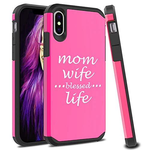 - Shockproof SI Impact Hard Soft Case Cover Protector for Apple iPhone Mom Wife Blessed Life Mother (Fuchsia, for Apple iPhone XR)