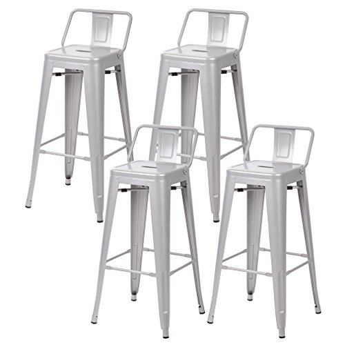 30'' Metal Frame Tolix Style Bar Stools Industrial Chair with Back, Set of 4 (Stool Low Backless Base Industrial)