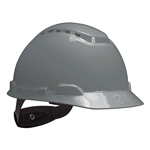 3M Hard Hat, Vented with 4-Point Ratchet Suspension, H-708V Adjustable, Gray (Pack of 20)