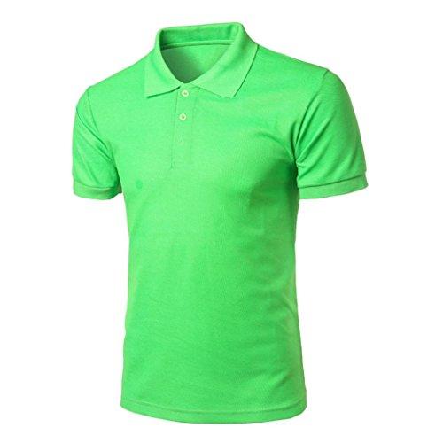 Bluestercool Hommes Fashion Manches Courtes Polo T-Shirt Casual Tops Couleur Unie Vert