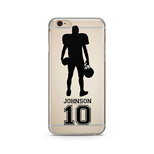 (CodeiCases iPhone 6/6s Clear Football Custom Cover With Custom Name and Number, Football Custom Case Clear Transparent for iPhone)