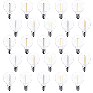 25 Pack G40 LED Replacement Bulb E12 Screw Base LED Globe Light Bulbs for Patio String Lights, Equivalent to 0.6-Watt Clear Light Bulbs