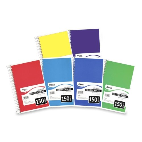 """Meadwestvaco 06900 6"""" X 9-1/2"""" Spiral 3 Subject Notebook Assorted Colors"""