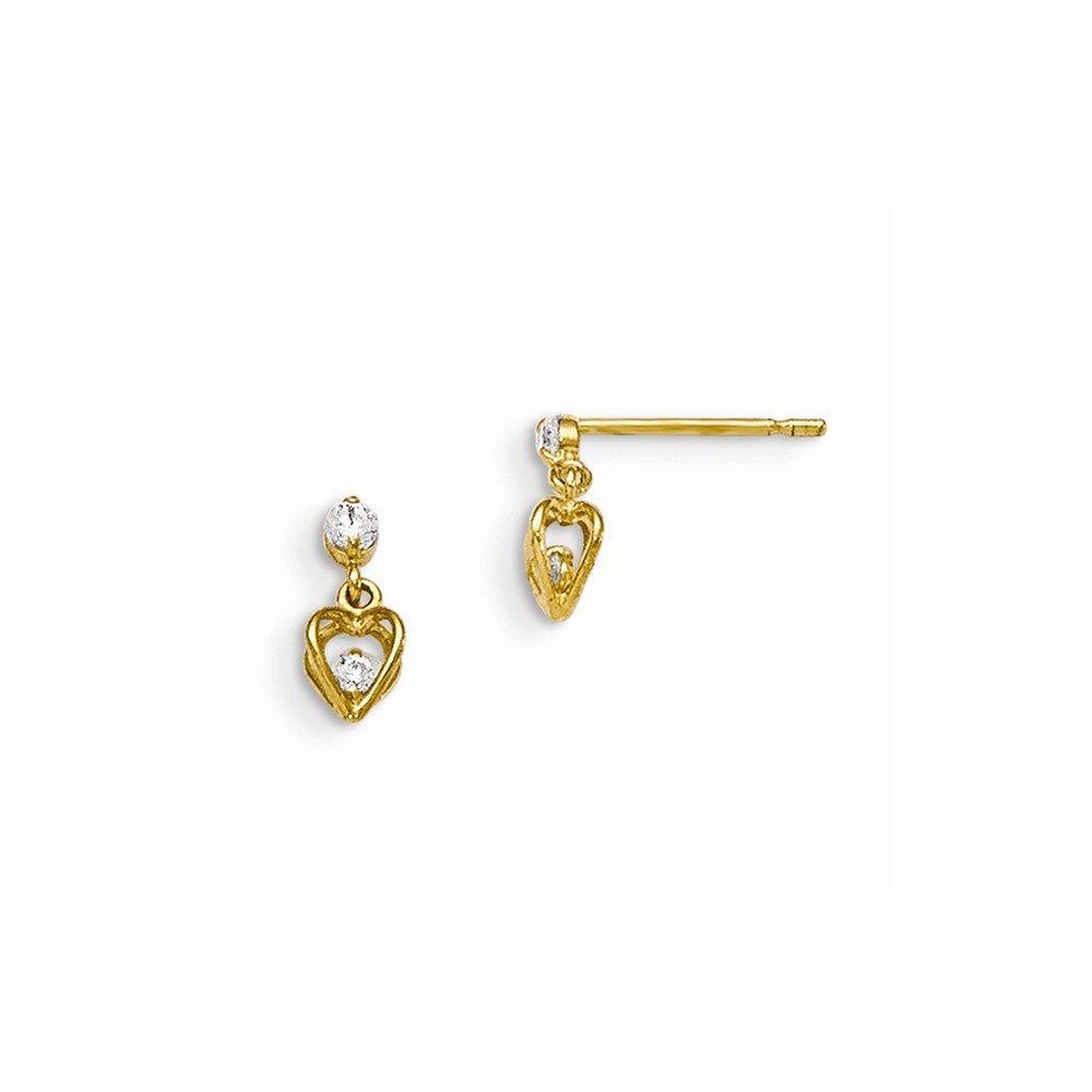 14k Madi K CZ Childrens Dangle Post Earrings GK712