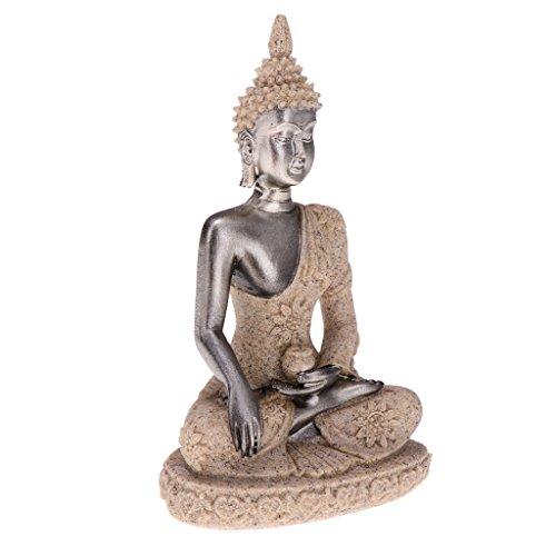 (Dolity Good Blessing-Seated Sandstone Gesha Buddha Statue Praying Buddha Statue Figurine Miniatures Sculptures Statue 3inch - Beige)
