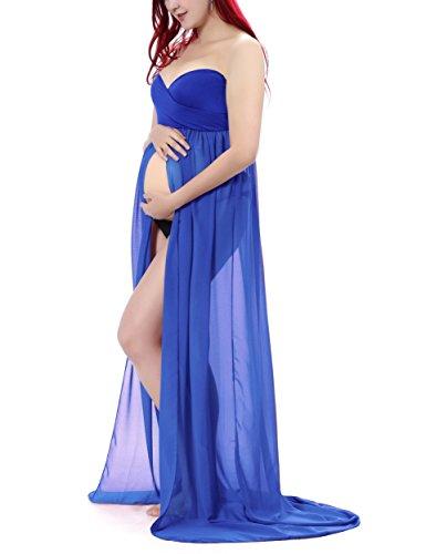Saslax Maternity Half Circle Off Shoulder Short Sleeves Gown Maxi Bridesmaid Dress for Photos Shoot