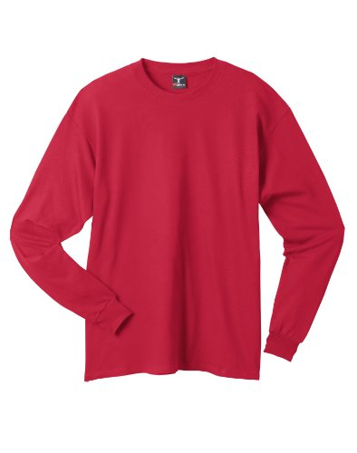 picture of Hanes Preshrunk 100% Cotton 6.1oz. Beefy-T - Long Sleeve T-Shirt, S-Deep Red