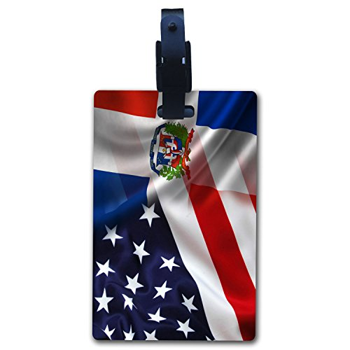 (BleuReign(TM Mixed USA and Dominican Republic Flag Luggage Tag with Strap)