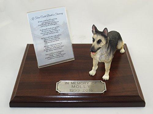 Beautiful Walnut Finished Personalized Memorial Plaque With Black & Tan German Shepherd Figurine (Urn Figurine Tan)