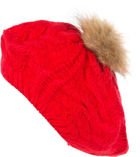 Sakkas 0171RB Knit Faux Fur Pom Slouch Beret - Red - One Size