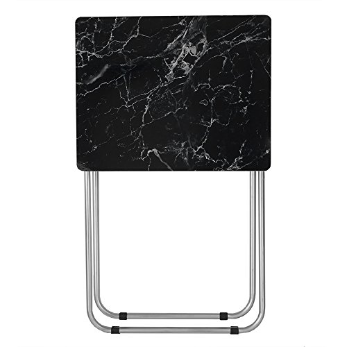 Home Basics Multi-Purpose Sturdy and Durable Decorative Bedside Laptop Snack Cocktails TV Folding Table Tray Desk Bedside Laptop Snacks Black Marble by Home Basics