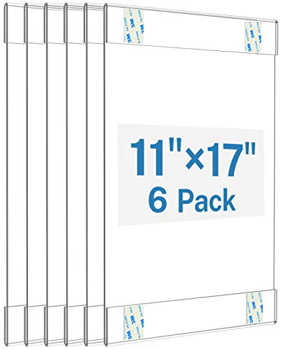 MaxGear Acrylic Sign Holder 11 x 17 Sign Holders Plastic Frames Clear Frame 11x17 Wall Mount Sign Holder Wall Sign Holder with 3M Tape Adhesive, for Plexiglass, Flyer, Poster, Door, Document, 6 Pack