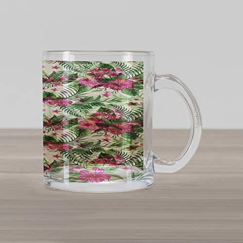 Ambesonne Watercolor Glass Mug, Plumeria and Hibiscus Flora Tropical Island Nature Aloha Hawaii Jungle, Printed Clear Glass Coffee Mug Cup for Beverages Water Tea Drinks, Magenta Cream Green