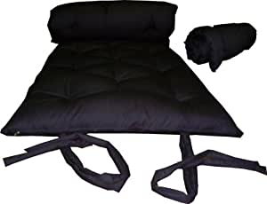 Calliger - Traditional Japanese Floor Futon Mattress in Black, 50 x 80 Inches, Full Size, Foldable Cushion Mat