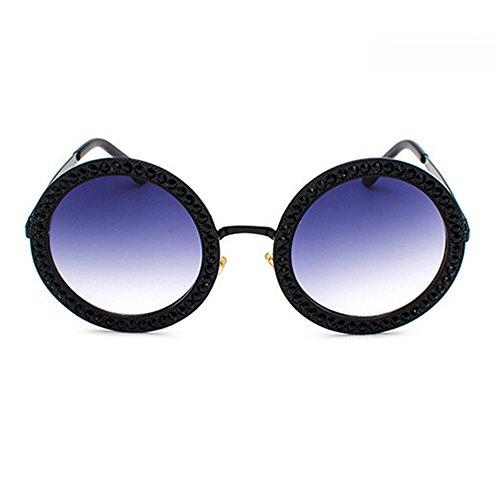 rondes Élégant avec oversize pour Lunettes Grand Eye Cadre Dames Bleu Étui avec Designer soleil Lentille de strass Mode Marque De Noir femmes Noir Porter pour Lunettes tq8tIEw