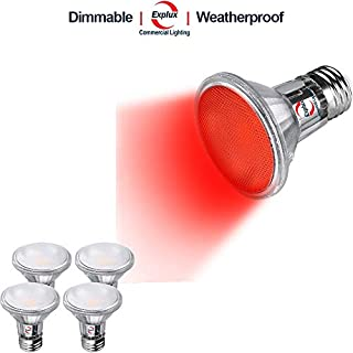 Explux PAR20 Red LED Flood Light Bulbs, Dimmable, 50W Equivalent, Indoor/Outdoor, 4-Pack