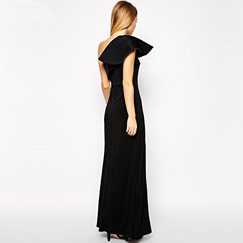 Lemandy robe longue col asymétrique noir